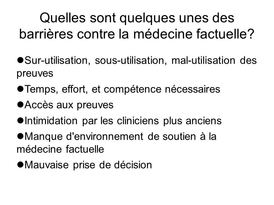 Quelles sont quelques unes des barrières contre la médecine factuelle? Sur-utilisation, sous-utilisation, mal-utilisation des preuves Temps, effort, e