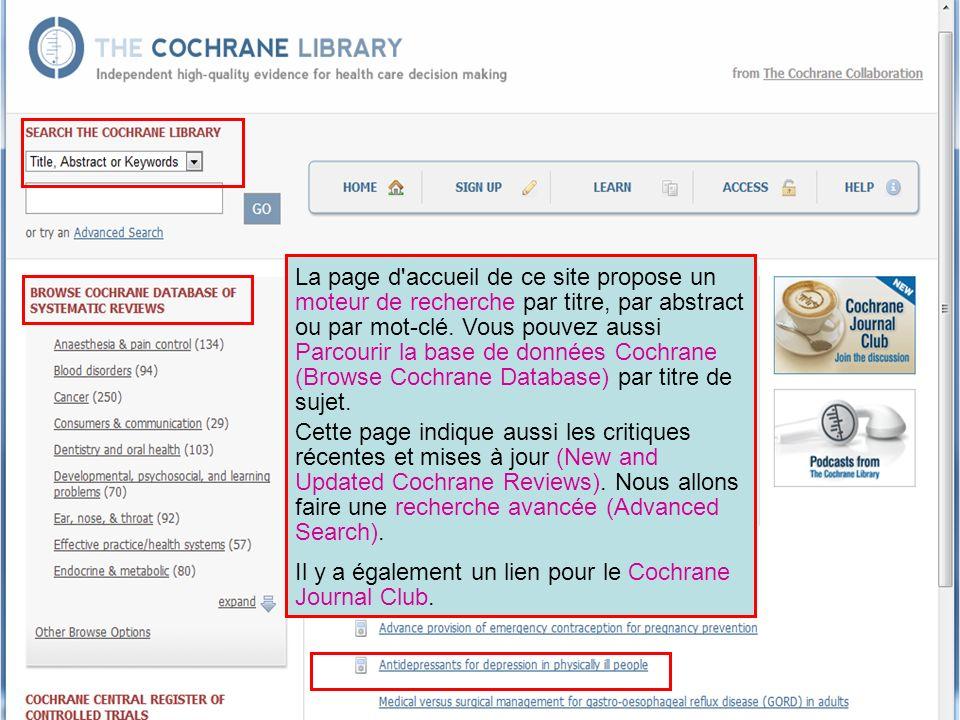 La page d'accueil de ce site propose un moteur de recherche par titre, par abstract ou par mot-clé. Vous pouvez aussi Parcourir la base de données Coc