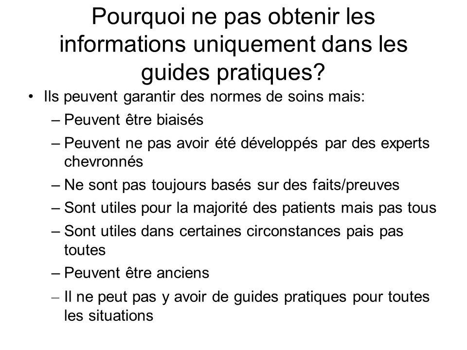 Pourquoi ne pas obtenir les informations uniquement dans les guides pratiques? Ils peuvent garantir des normes de soins mais: –Peuvent être biaisés –P