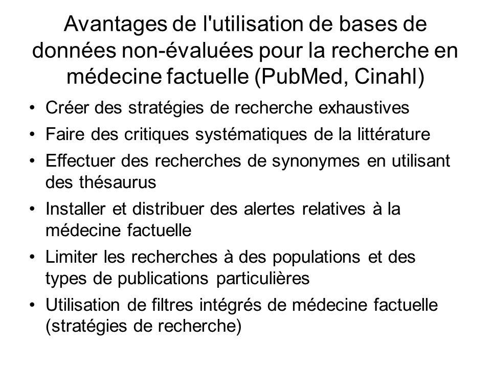 Avantages de l'utilisation de bases de données non-évaluées pour la recherche en médecine factuelle (PubMed, Cinahl) Créer des stratégies de recherche