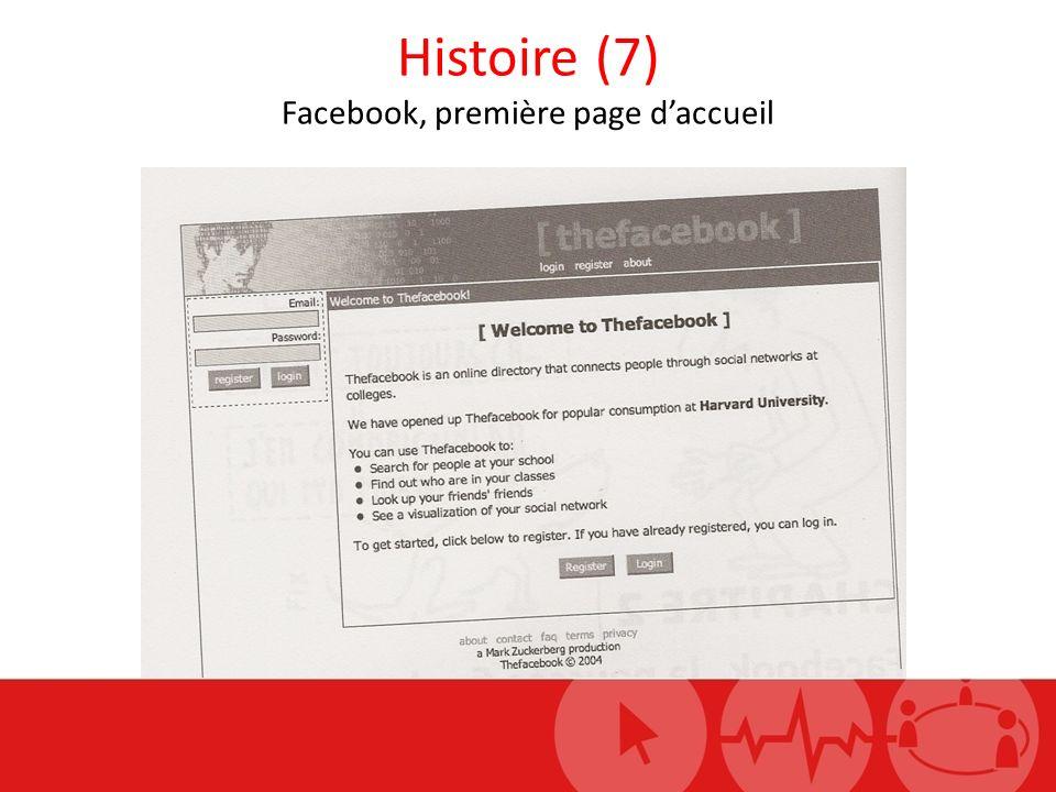 Histoire (7) Facebook, première page daccueil