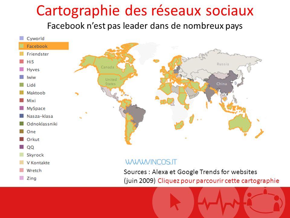 Cartographie des réseaux sociaux Facebook nest pas leader dans de nombreux pays Sources : Alexa et Google Trends for websites (juin 2009) Cliquez pour