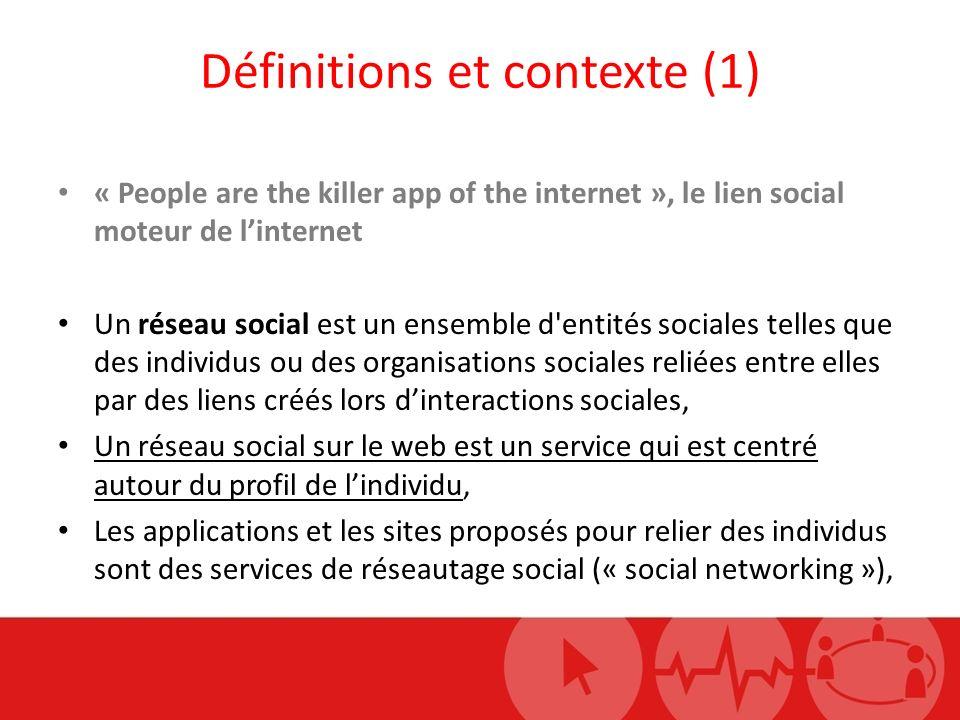 Définitions et contexte (1) « People are the killer app of the internet », le lien social moteur de linternet Un réseau social est un ensemble d entités sociales telles que des individus ou des organisations sociales reliées entre elles par des liens créés lors dinteractions sociales, Un réseau social sur le web est un service qui est centré autour du profil de lindividu, Les applications et les sites proposés pour relier des individus sont des services de réseautage social (« social networking »),