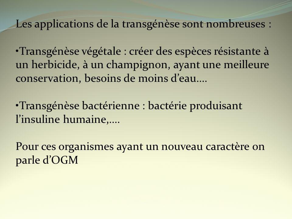 Les applications de la transgénèse sont nombreuses : Transgénèse végétale : créer des espèces résistante à un herbicide, à un champignon, ayant une me
