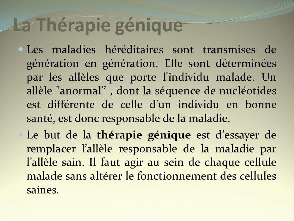 La Thérapie génique Les maladies héréditaires sont transmises de génération en génération. Elle sont déterminées par les allèles que porte l'individu