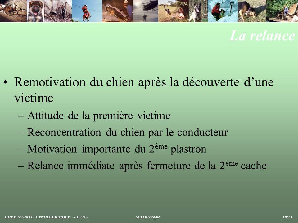 La relance Remotivation du chien après la découverte dune victime –Attitude de la première victime –Reconcentration du chien par le conducteur –Motiva