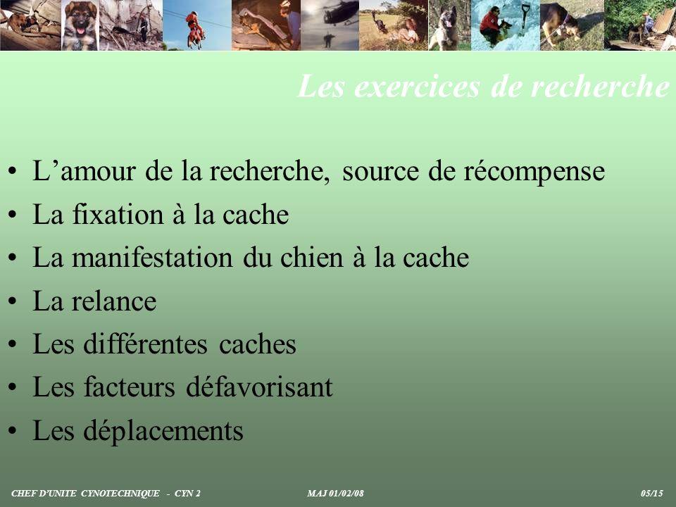 Les exercices de recherche Lamour de la recherche, source de récompense La fixation à la cache La manifestation du chien à la cache La relance Les dif