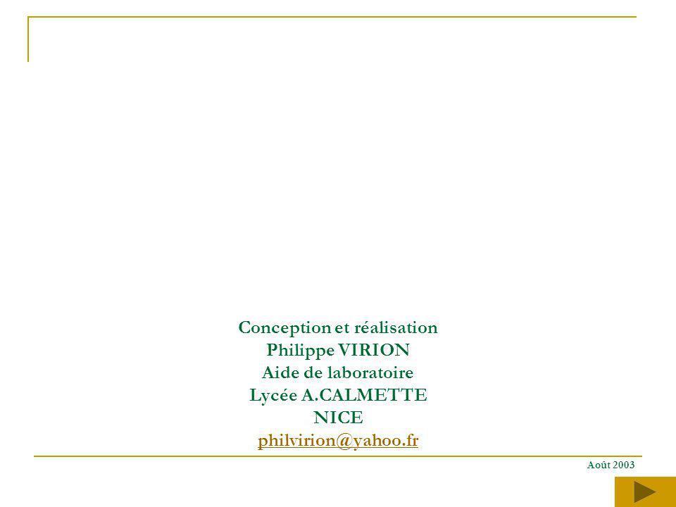 Conception et réalisation Philippe VIRION Aide de laboratoire Lycée A.CALMETTE NICE philvirion@yahoo.fr Août 2003 philvirion@yahoo.fr