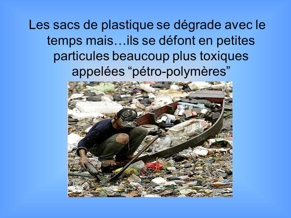 Les sacs de plastique se dégrade avec le temps mais…ils se défont en petites particules beaucoup plus toxiques appelées pétro-polymères