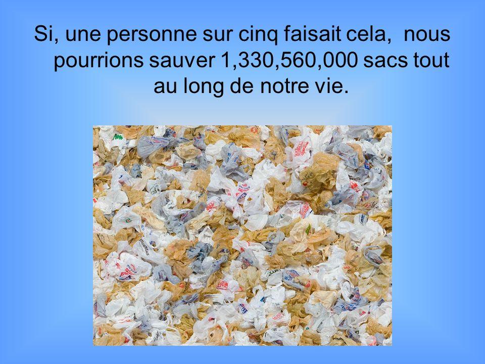 Si, une personne sur cinq faisait cela, nous pourrions sauver 1,330,560,000 sacs tout au long de notre vie.