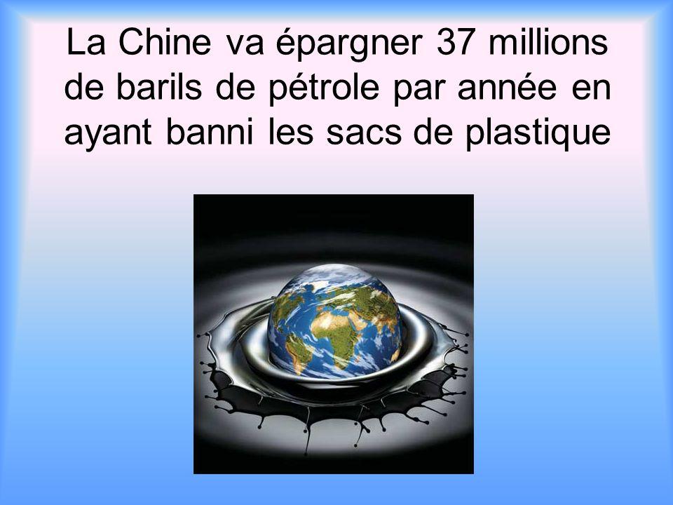 La Chine va épargner 37 millions de barils de pétrole par année en ayant banni les sacs de plastique