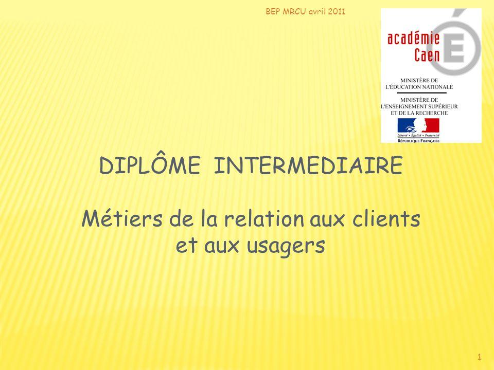 BEP MRCU avril 2011 1 DIPLÔME INTERMEDIAIRE Métiers de la relation aux clients et aux usagers
