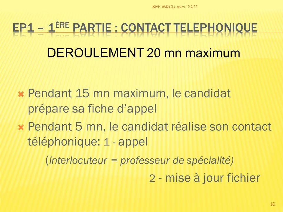 Pendant 15 mn maximum, le candidat prépare sa fiche dappel Pendant 5 mn, le candidat réalise son contact téléphonique: 1 - appel ( interlocuteur = pro