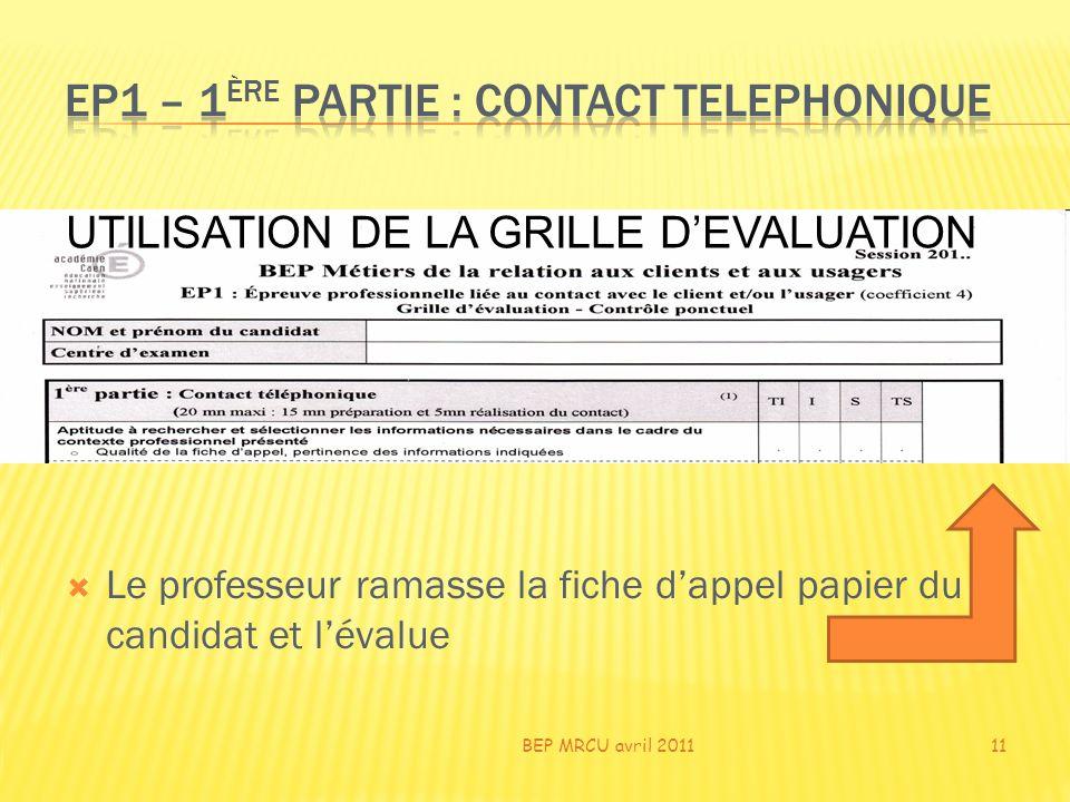 Le professeur ramasse la fiche dappel papier du candidat et lévalue BEP MRCU avril 201111 UTILISATION DE LA GRILLE DEVALUATION