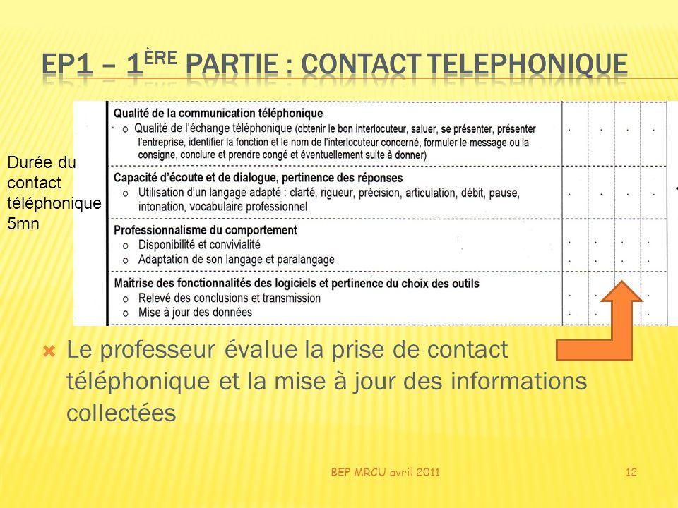 Le professeur évalue la prise de contact téléphonique et la mise à jour des informations collectées BEP MRCU avril 201112 Durée du contact téléphoniqu