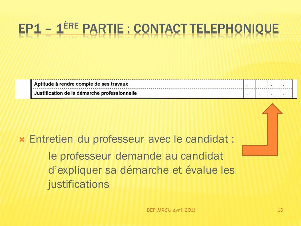 Entretien du professeur avec le candidat : le professeur demande au candidat dexpliquer sa démarche et évalue les justifications BEP MRCU avril 201113