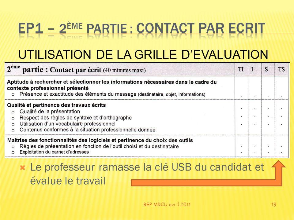 Le professeur ramasse la clé USB du candidat et évalue le travail BEP MRCU avril 201119 UTILISATION DE LA GRILLE DEVALUATION