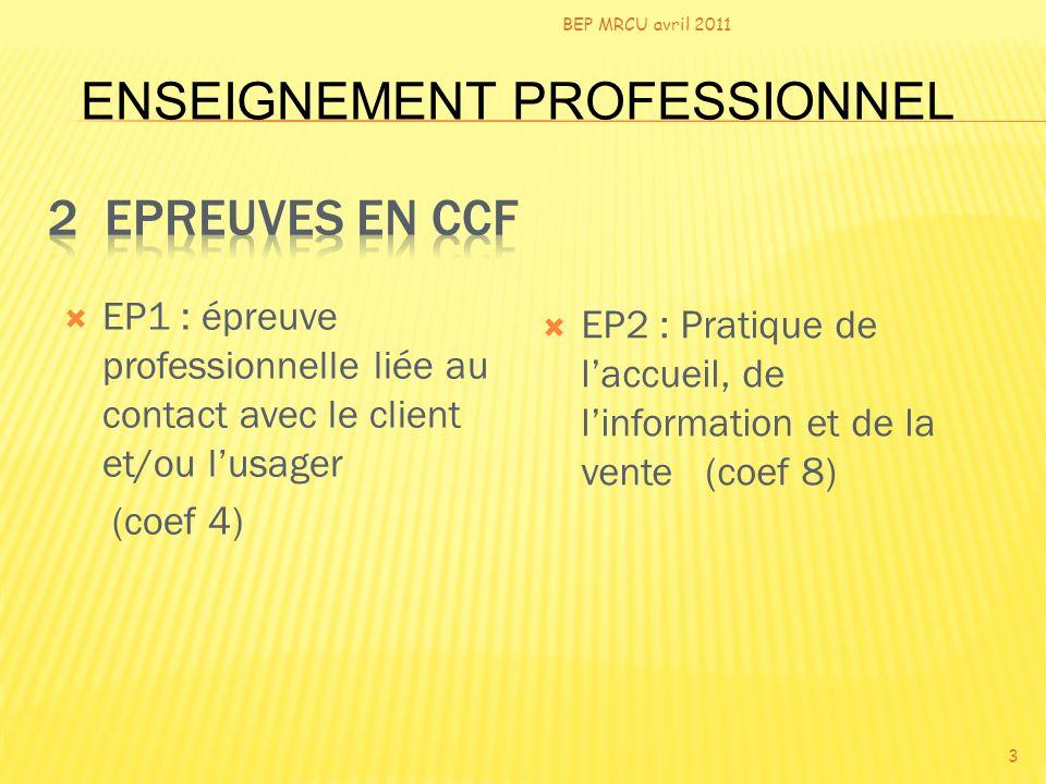 EP1 : épreuve professionnelle liée au contact avec le client et/ou lusager (coef 4) - 1 ère partie : contact téléphonique - 2 ème partie : contact par écrit BEP MRCU avril 2011 4