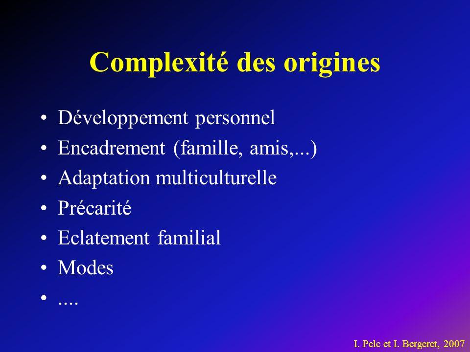 Complexité des origines Développement personnel Encadrement (famille, amis,...) Adaptation multiculturelle Précarité Eclatement familial Modes....