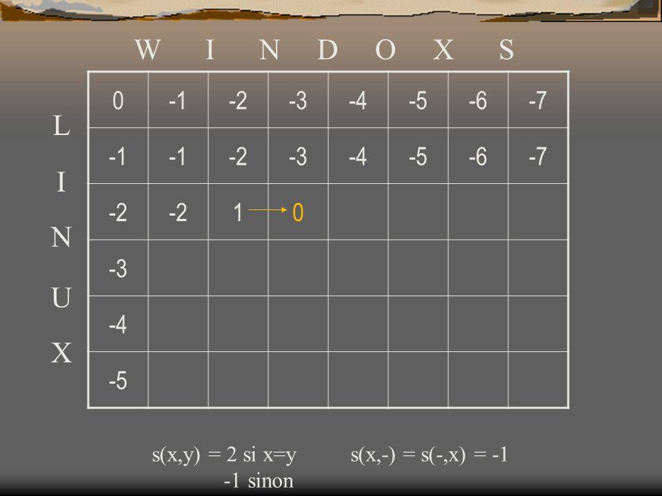 0-2-3-4-5-6-7 -2-3-4-5-6-7 -2 10 -3 -4 -5 W I N D O X S L I N U X s(x,y) = 2 si x=ys(x,-) = s(-,x) = -1 -1 sinon