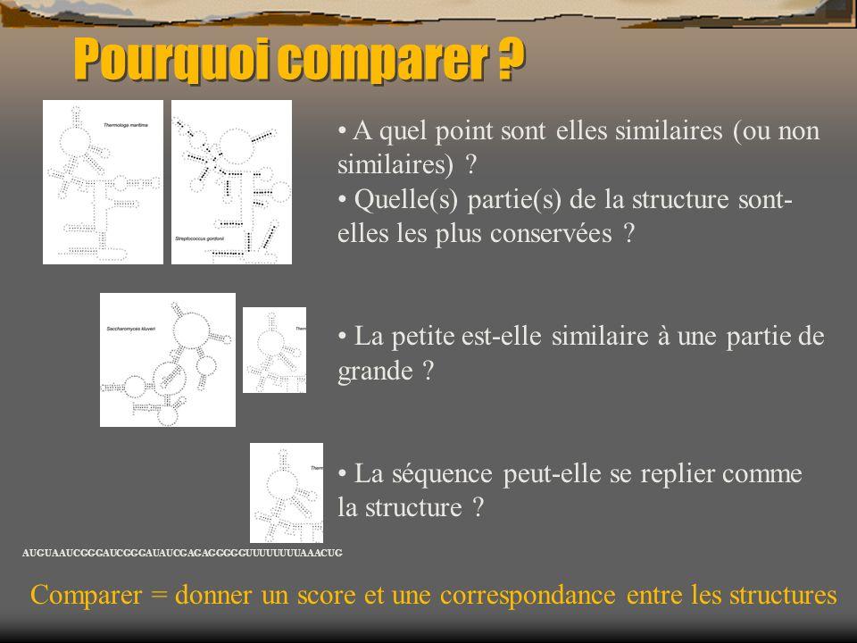 Pourquoi comparer ? A quel point sont elles similaires (ou non similaires) ? Quelle(s) partie(s) de la structure sont- elles les plus conservées ? La