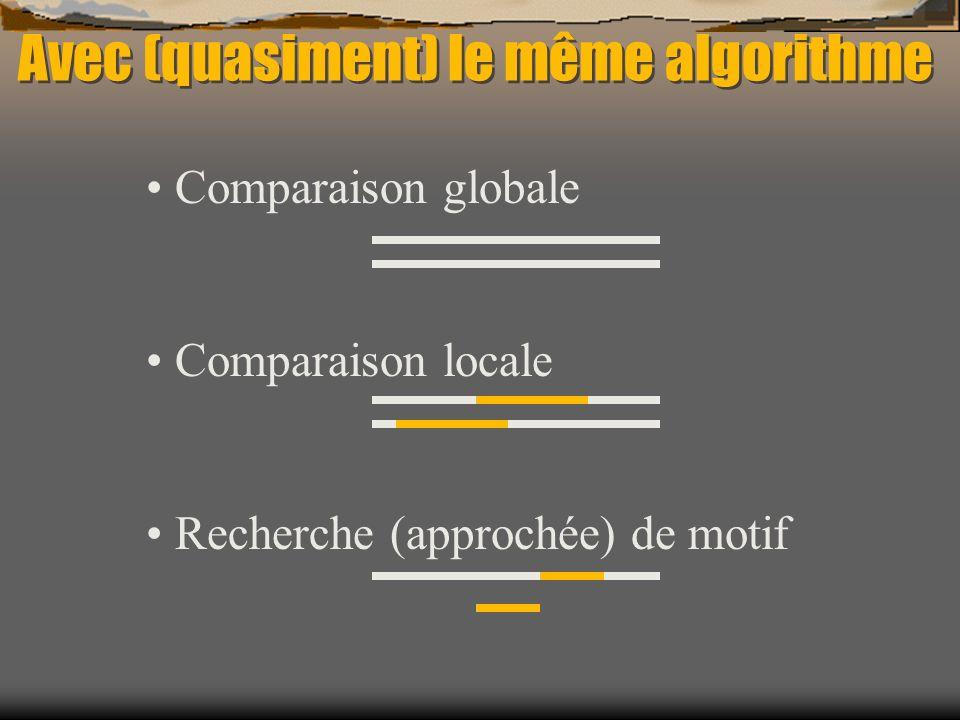 Avec (quasiment) le même algorithme Comparaison globale Comparaison locale Recherche (approchée) de motif