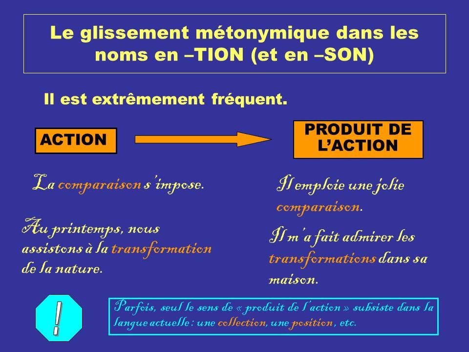 Le glissement métonymique dans les noms en –TION (et en –SON) Il est extrêmement fréquent. ACTION PRODUIT DE LACTION La comparaison simpose. Il emploi