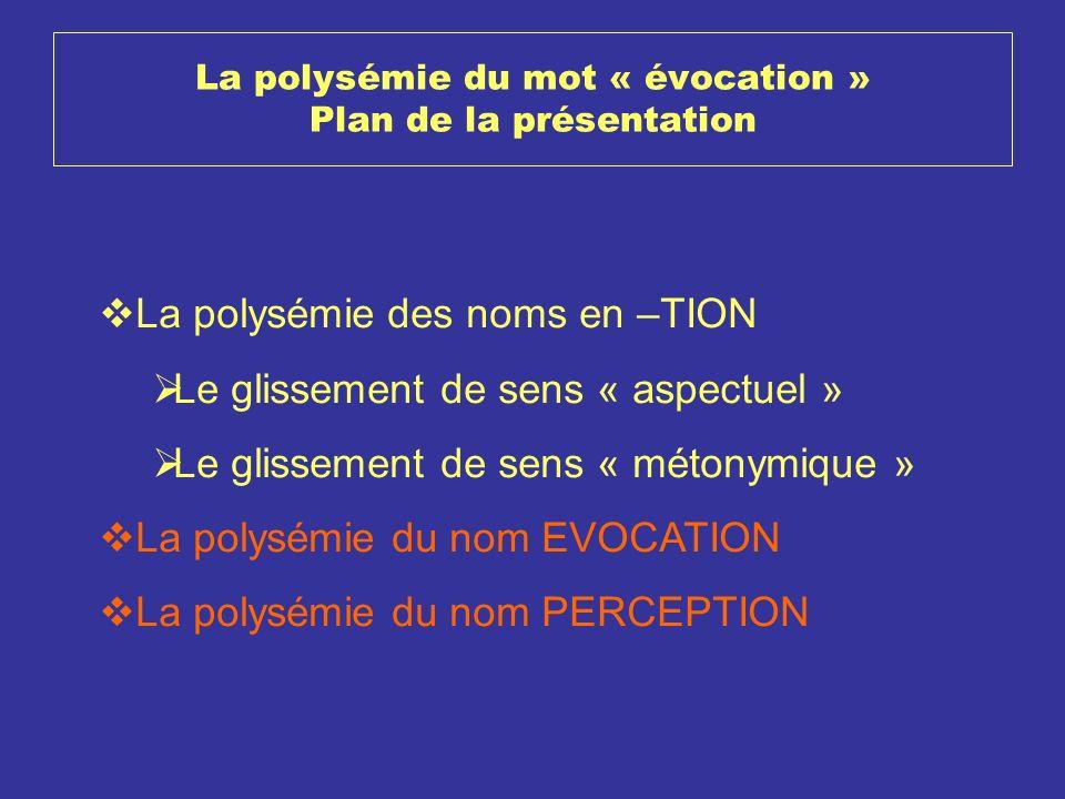 La polysémie du mot « évocation » Plan de la présentation La polysémie des noms en –TION Le glissement de sens « aspectuel » Le glissement de sens « m