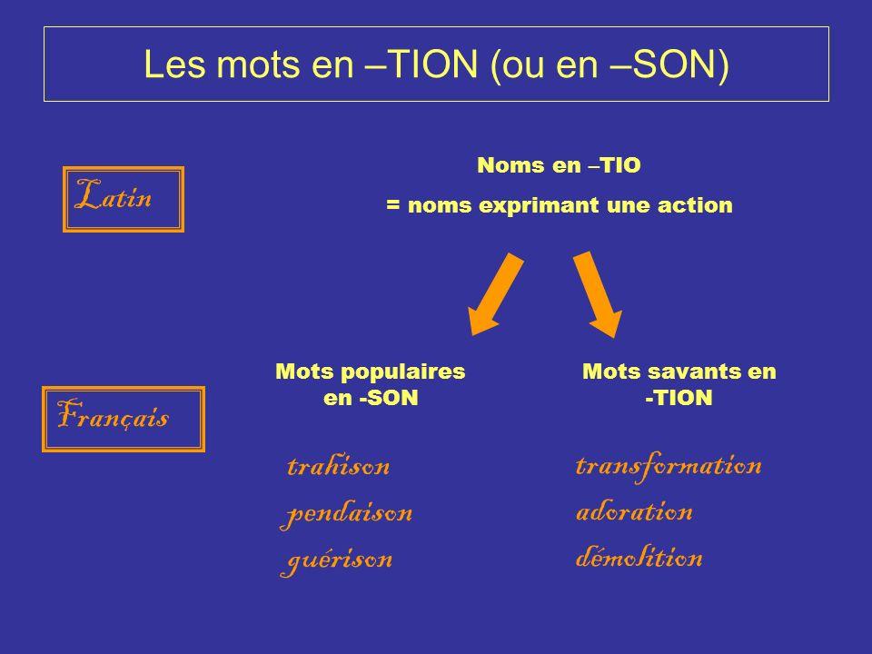 Les mots en –TION (ou en –SON) Français Latin Noms en –TIO = noms exprimant une action Mots populaires en -SON Mots savants en -TION trahison pendaiso