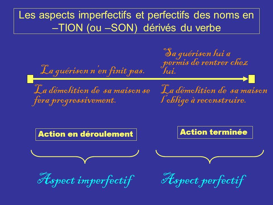 Les aspects imperfectifs et perfectifs des noms en –TION (ou –SON) dérivés du verbe La guérison nen finit pas. La démolition de sa maison se fera prog