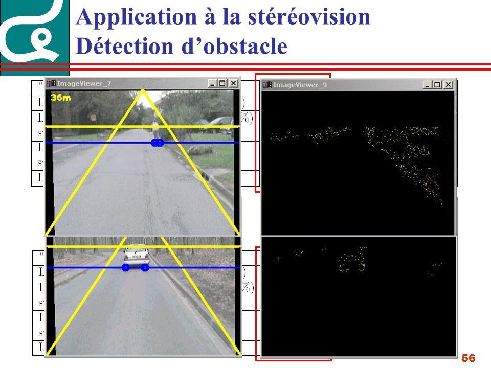 56 Application à la stéréovision Détection dobstacle