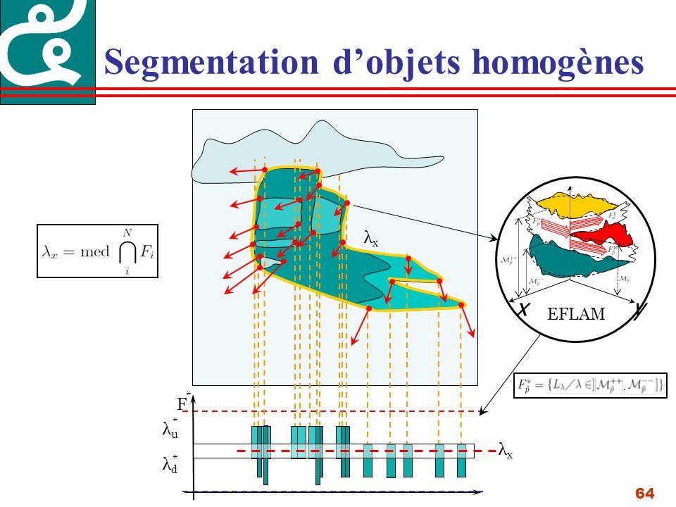 64 Segmentation dobjets homogènes λuλu λdλd * * xy EFLAM F * λxλx λxλx