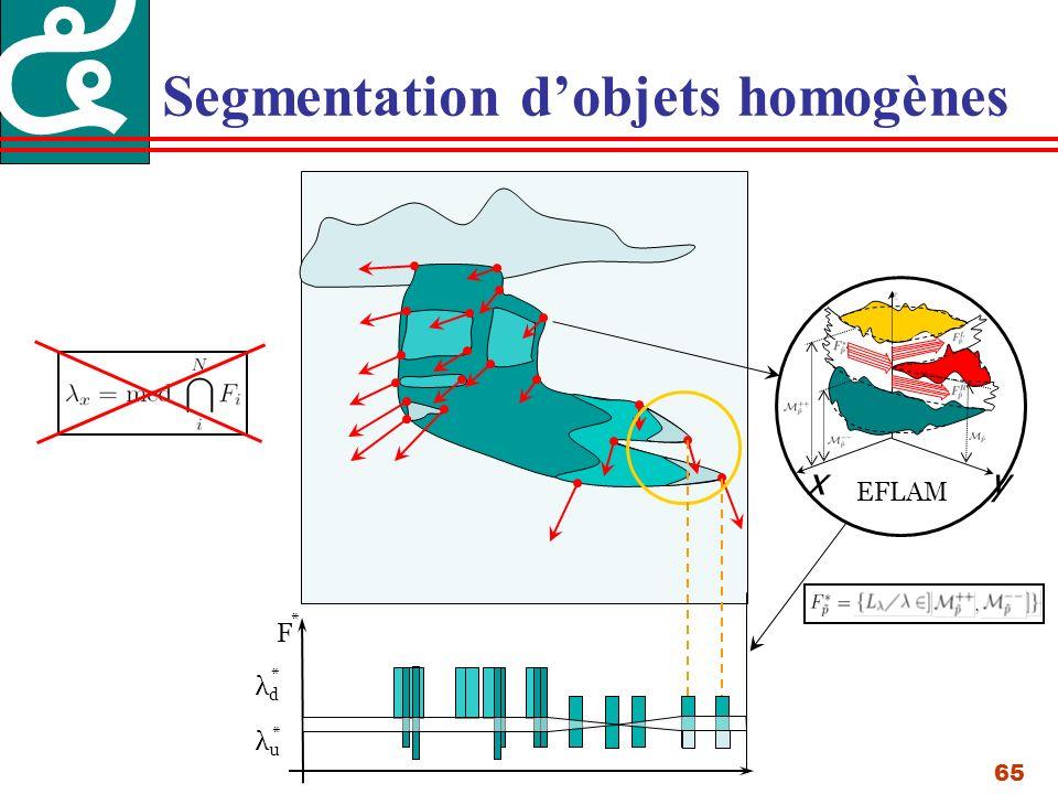 65 Segmentation dobjets homogènes λdλd λuλu * * xy EFLAM F *