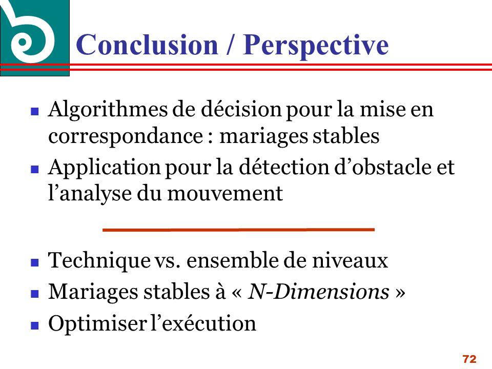72 Conclusion / Perspective Algorithmes de décision pour la mise en correspondance : mariages stables Application pour la détection dobstacle et lanalyse du mouvement Technique vs.