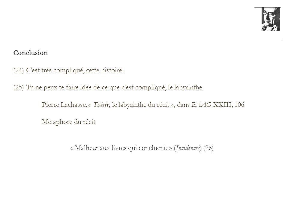 Conclusion (24) C'est très compliqué, cette histoire. (25) Tu ne peux te faire idée de ce que c'est compliqué, le labyrinthe. Pierre Lachasse, « Thésé