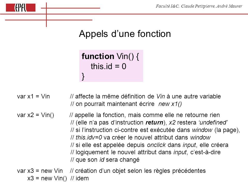 Faculté I&C, Claude Petitpierre, André Maurer Appels dune fonction function Vin() { this.id = 0 } var x1 = Vin // affecte la même définition de Vin à une autre variable // on pourrait maintenant écrire new x1() var x2 = Vin() // appelle la fonction, mais comme elle ne retourne rien // (elle na pas dinstruction return), x2 restera undefined // si linstruction ci-contre est exécutée dans window (la page), // this.idv=0 va créer le nouvel attribut dans window // si elle est appelée depuis onclick dans input, elle créera // logiquement le nouvel attribut dans input, cest-à-dire // que son id sera changé var x3 = new Vin // création dun objet selon les règles précédentes x3 = new Vin() // idem