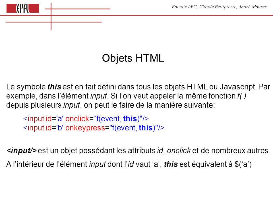 Faculté I&C, Claude Petitpierre, André Maurer Objets HTML Le symbole this est en fait défini dans tous les objets HTML ou Javascript.