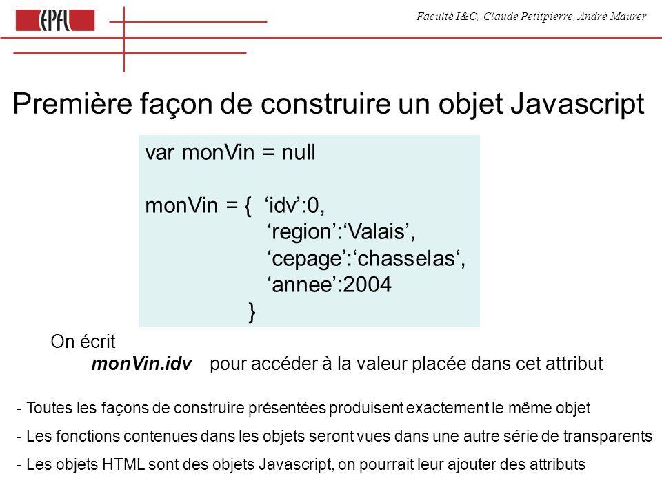 Faculté I&C, Claude Petitpierre, André Maurer Première façon de construire un objet Javascript var monVin = null monVin = { idv:0, region:Valais, cepa
