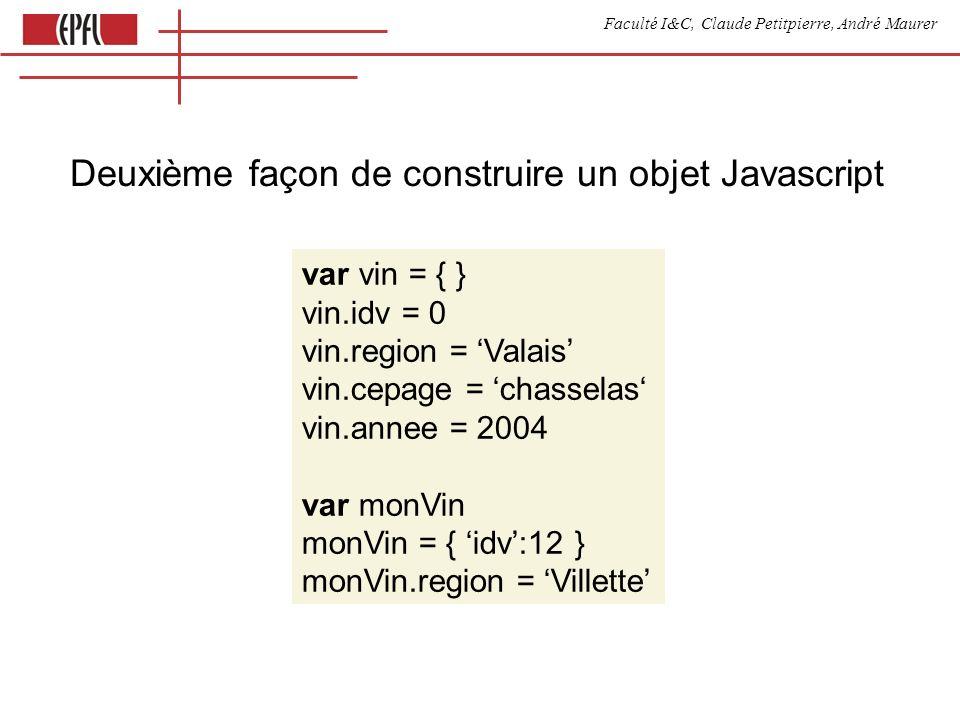 Faculté I&C, Claude Petitpierre, André Maurer Deuxième façon de construire un objet Javascript var vin = { } vin.idv = 0 vin.region = Valais vin.cepage = chasselas vin.annee = 2004 var monVin monVin = { idv:12 } monVin.region = Villette