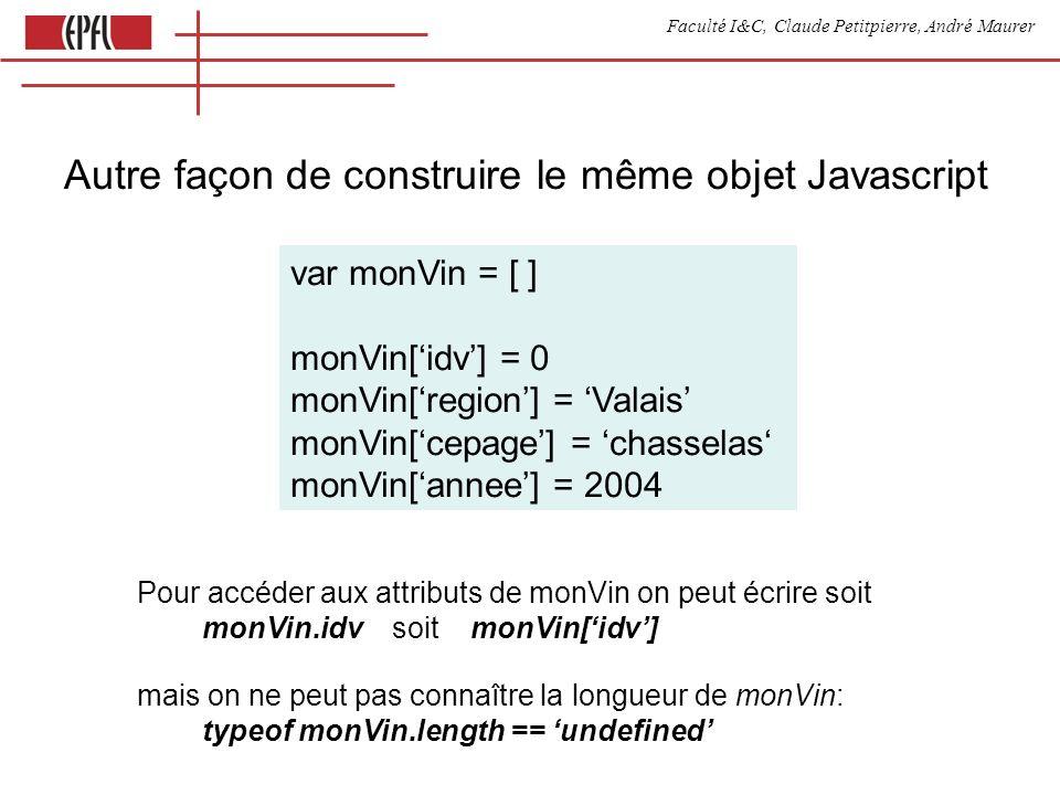 Faculté I&C, Claude Petitpierre, André Maurer Autre façon de construire le même objet Javascript var monVin = [ ] monVin[idv] = 0 monVin[region] = Valais monVin[cepage] = chasselas monVin[annee] = 2004 Pour accéder aux attributs de monVin on peut écrire soit monVin.idv soit monVin[idv] mais on ne peut pas connaître la longueur de monVin: typeof monVin.length == undefined