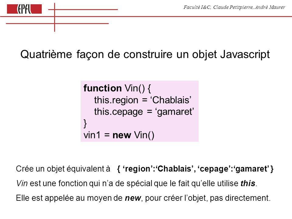 Faculté I&C, Claude Petitpierre, André Maurer Quatrième façon de construire un objet Javascript function Vin() { this.region = Chablais this.cepage =