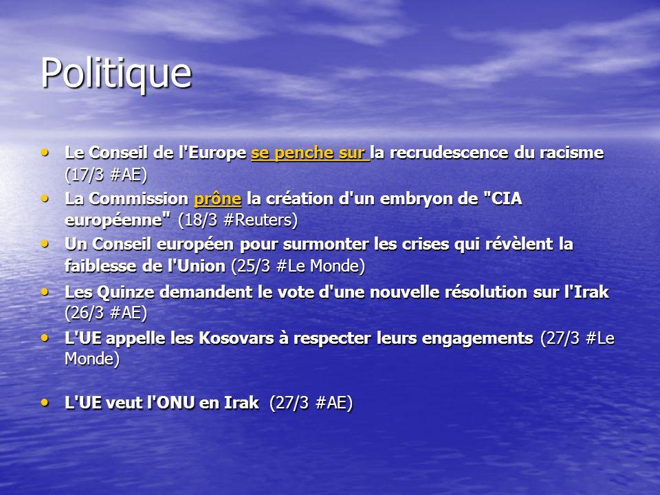 Politique Le Conseil de l Europe se penche sur la recrudescence du racisme (17/3 #AE) Le Conseil de l Europe se penche sur la recrudescence du racisme (17/3 #AE)se penche sur se penche sur La Commission prône la création d un embryon de CIA européenne (18/3 #Reuters) La Commission prône la création d un embryon de CIA européenne (18/3 #Reuters)prône Un Conseil européen pour surmonter les crises qui révèlent la faiblesse de l Union (25/3 #Le Monde) Un Conseil européen pour surmonter les crises qui révèlent la faiblesse de l Union (25/3 #Le Monde) Les Quinze demandent le vote d une nouvelle résolution sur l Irak (26/3 #AE) Les Quinze demandent le vote d une nouvelle résolution sur l Irak (26/3 #AE) L UE appelle les Kosovars à respecter leurs engagements (27/3 #Le Monde) L UE appelle les Kosovars à respecter leurs engagements (27/3 #Le Monde) L UE veut l ONU en Irak (27/3 #AE) L UE veut l ONU en Irak (27/3 #AE)