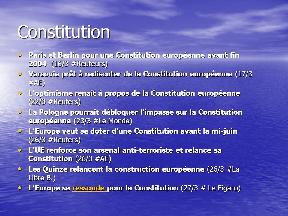 Constitution Paris et Berlin pour une Constitution européenne avant fin 2004 (16/3 #Reuteurs) Paris et Berlin pour une Constitution européenne avant fin 2004 (16/3 #Reuteurs) Varsovie prêt à rediscuter de la Constitution européenne (17/3 #AE) Varsovie prêt à rediscuter de la Constitution européenne (17/3 #AE) L optimisme renaît à propos de la Constitution européenne (22/3 #Reuters) L optimisme renaît à propos de la Constitution européenne (22/3 #Reuters) La Pologne pourrait débloquer l impasse sur la Constitution européenne (23/3 #Le Monde) La Pologne pourrait débloquer l impasse sur la Constitution européenne (23/3 #Le Monde) L Europe veut se doter d une Constitution avant la mi-juin (26/3 #Reuters) L Europe veut se doter d une Constitution avant la mi-juin (26/3 #Reuters) L UE renforce son arsenal anti-terroriste et relance sa Constitution (26/3 #AE) L UE renforce son arsenal anti-terroriste et relance sa Constitution (26/3 #AE) Les Quinze relancent la construction européenne (26/3 #La Libre B.) Les Quinze relancent la construction européenne (26/3 #La Libre B.) L Europe se ressoude pour la Constitution (27/3 # Le Figaro) L Europe se ressoude pour la Constitution (27/3 # Le Figaro)ressoude