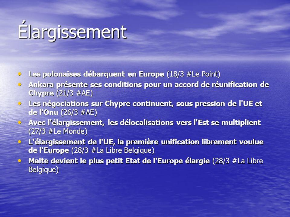 Élargissement Les polonaises débarquent en Europe (18/3 #Le Point) Les polonaises débarquent en Europe (18/3 #Le Point) Ankara présente ses conditions pour un accord de réunification de Chypre (21/3 #AE) Ankara présente ses conditions pour un accord de réunification de Chypre (21/3 #AE) Les négociations sur Chypre continuent, sous pression de l UE et de l Onu (26/3 #AE) Les négociations sur Chypre continuent, sous pression de l UE et de l Onu (26/3 #AE) Avec l élargissement, les délocalisations vers l Est se multiplient (27/3 #Le Monde) Avec l élargissement, les délocalisations vers l Est se multiplient (27/3 #Le Monde) L élargissement de l UE, la première unification librement voulue de l Europe (28/3 #La Libre Belgique) L élargissement de l UE, la première unification librement voulue de l Europe (28/3 #La Libre Belgique) Malte devient le plus petit Etat de l Europe élargie (28/3 #La Libre Belgique) Malte devient le plus petit Etat de l Europe élargie (28/3 #La Libre Belgique)