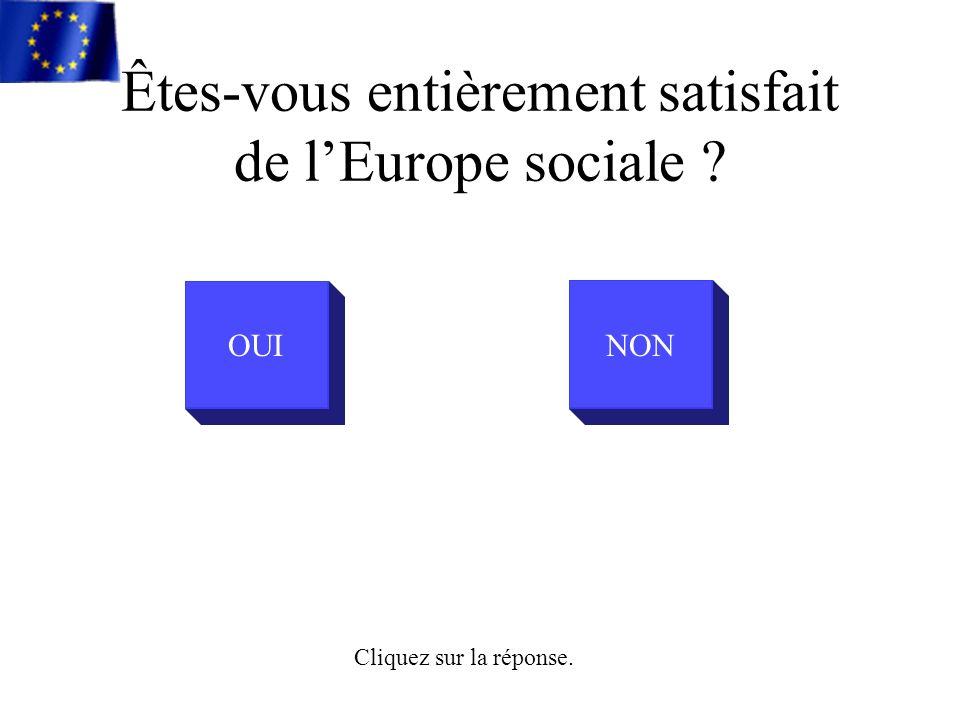 Êtes-vous entièrement satisfait de lEurope sociale OUINON Cliquez sur la réponse.