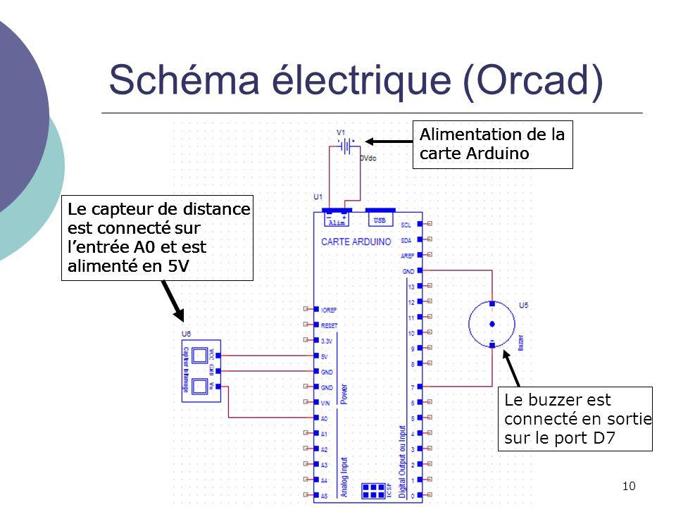 10 Schéma électrique (Orcad) Le capteur de distance est connecté sur lentrée A0 et est alimenté en 5V Alimentation de la carte Arduino Le buzzer est c