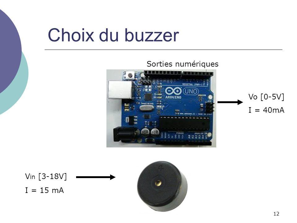 12 Choix du buzzer Vo [0-5V] I = 40mA I = 15 mA V in [3-18V] Sorties numériques