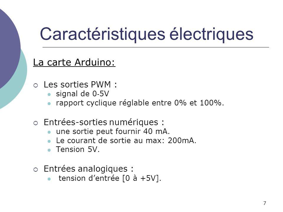7 Caractéristiques électriques La carte Arduino: Les sorties PWM : signal de 0 5V rapport cyclique réglable entre 0% et 100%. Entrées-sorties numériqu