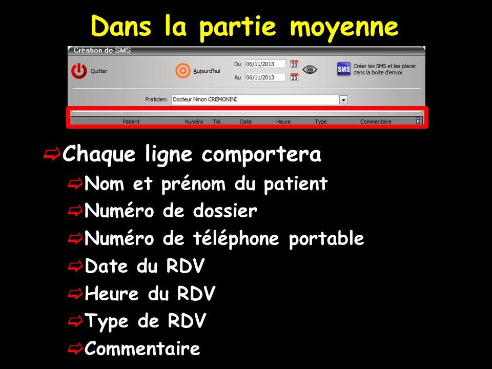 Chaque ligne comportera Nom et prénom du patient Numéro de dossier Numéro de téléphone portable Date du RDV Heure du RDV Type de RDV Commentaire Dans la partie moyenne