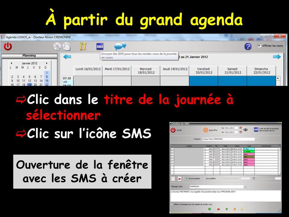 À partir du mini agenda Un bouton SMS permet denvoyer un SMS de rappel de RDV à tous les patients de la journée sélectionnée